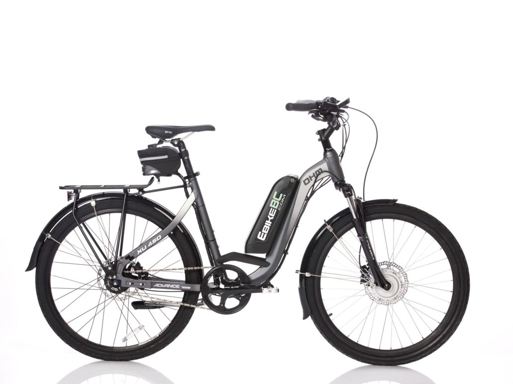 350W OHM-EbikeBC XU450 26 in, best retrofit electric bike bc, best commuter ebike canada, gear hub, hydraulic disk brake, front suspension, Lizard down tube water bottle mount Li-Ion battery 350W Rated, 500W