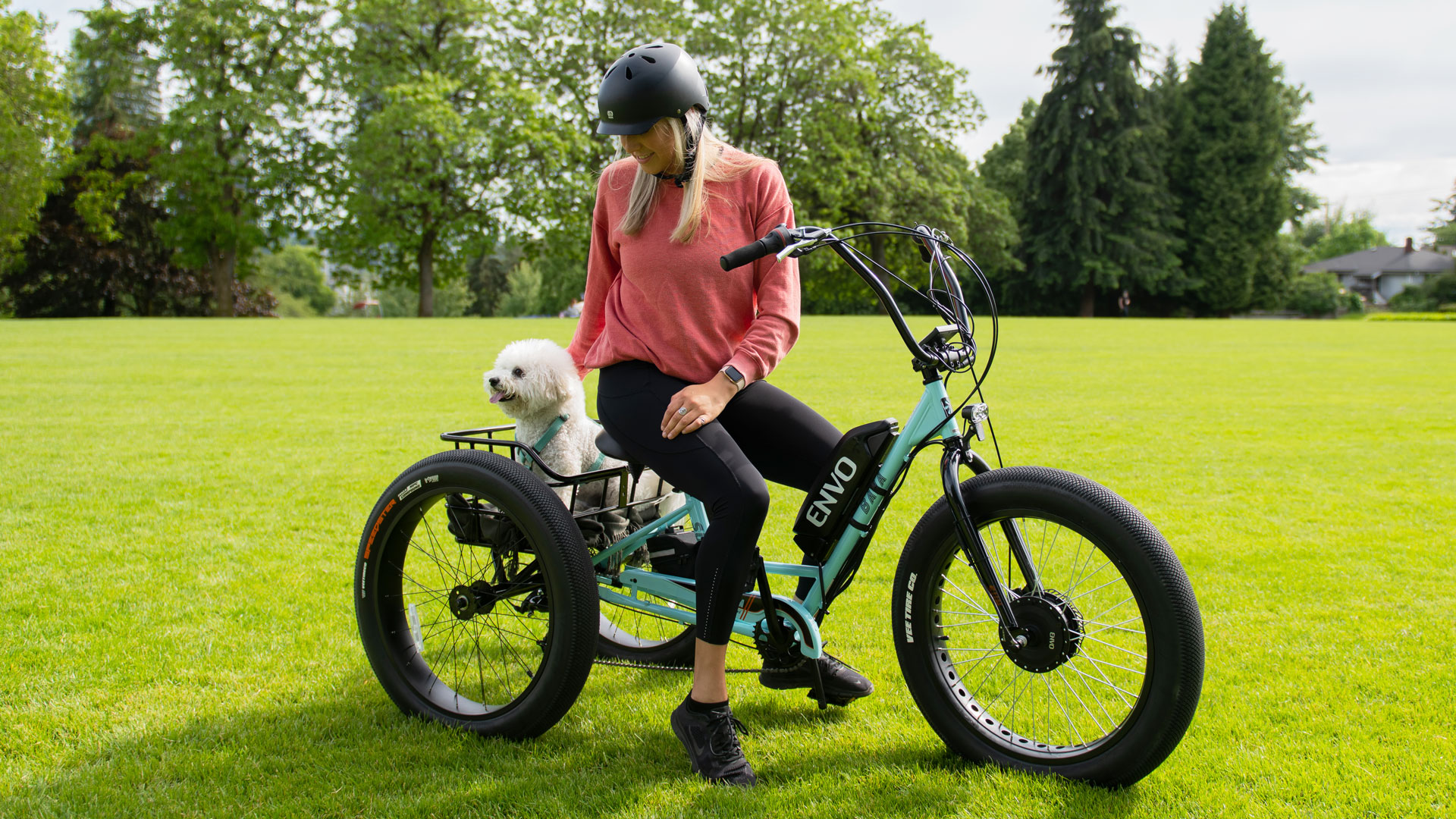ENVO Electric Trike Conversion Kit Woman and Dog